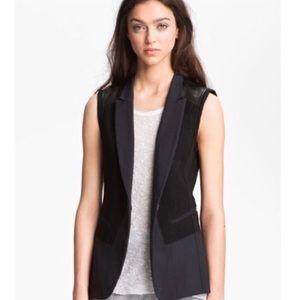 Rag & Bone Finn Leather Black Vest